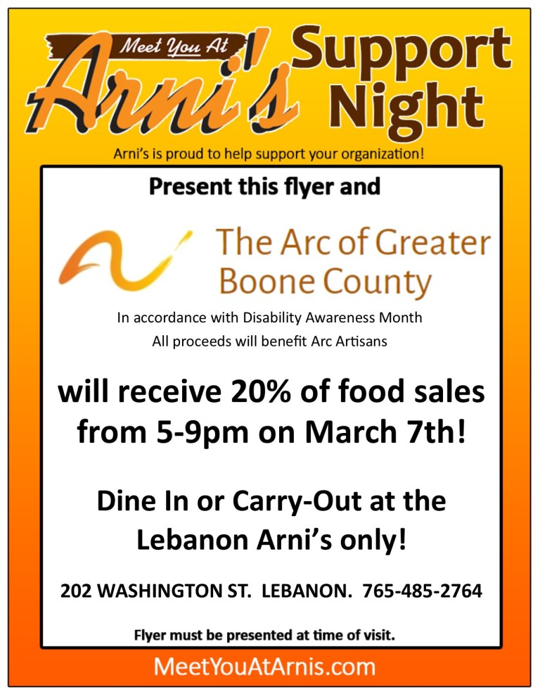 Support Night photo- The Arc for Greater Boone County